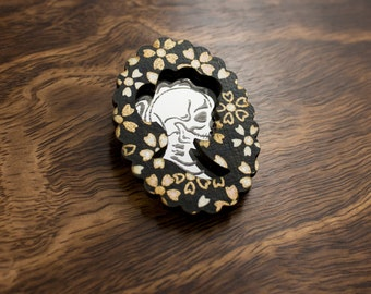 Black Floral Skeleton Girl Cameo Brooch