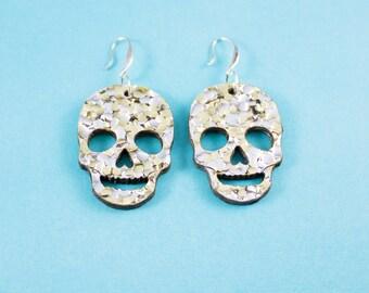 Gold and Silver Glitter Skull Earrings