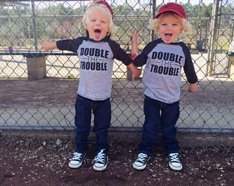 Double The Trouble Raglan | Twin Boy Shirts, Twin Shirts, Graphic Tee, Baseball Shirt, Toddler Boy Shirt, Double Trouble Shirt, Graphic Tee