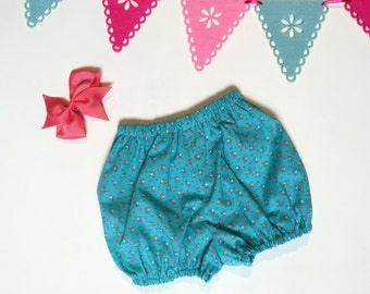Blue floral girls bloomer shorts, size 2-3 years, shorts nappy diaper cover, retro