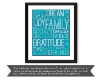 Family Values Subway Art, DIGITAL DOWNLOAD, Printable Wall Art, Home Decor, Typographic Art, Values Subway Art, Family Subway Art