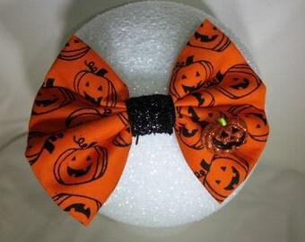 Jack-O-Lantern Halloween hair bow - small