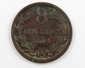 Guernsey 1874 Eight Doubles Coin.