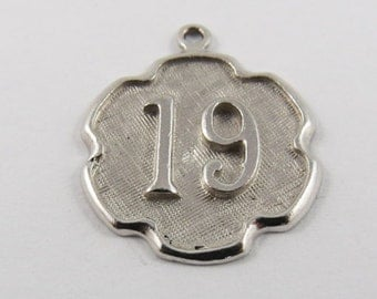 """Number """"19"""" Sterling Silver Charm of Pendant."""