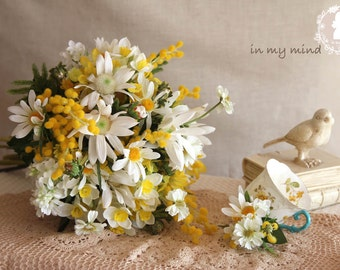 Bridal bouquet , Wedding bouquet , Silk bouquet, Rustic bouquet , Artificial , Yellow , Bouquet with Groom 's Boutonniere ,  #No26_002Y
