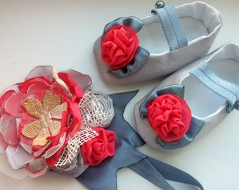 Grey Coral Baby Crib Shoes and Headband Set, photo prop,cute handmade baby shoes and flower headband set, baby girl dress gray and coral set