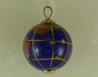 Lapis 14.9 mm Globe Pendant with 14k Yellow Gold