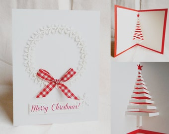 Christmas handmade card - Let it snow Christmas Crown Pop Up Christmas tree inside