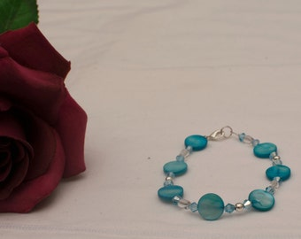 Turquoise Shell Pearl and Crystal Bracelet