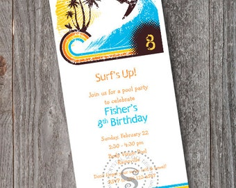 Pool Party -Pool Birthday Party Invitation -PRINTABLE -Surfs Up -CUSTOM -Surfing Invitation -California -Beach -Swimming Party -Pool Party
