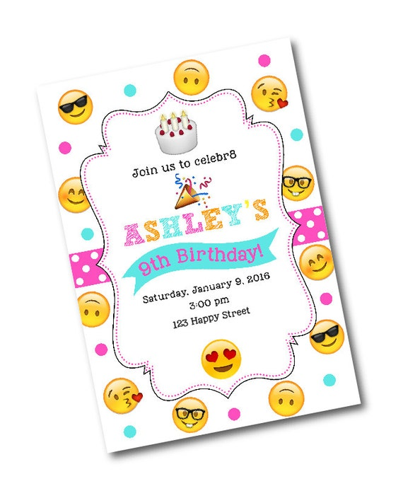 Emoji Birthday Party Invitation Personalized Note Cards Invitations And More