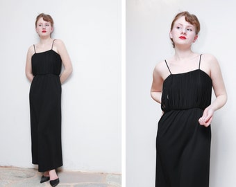 Vintage Evening Gown/Column Design/Bodice Designed With Looping Strands/Thin Spaghetti Straps/Jet Black