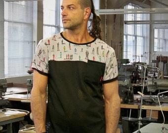 Mesh contrast robot t-shirt