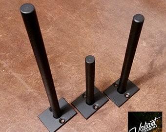 "Steel 2""-12"" Long 1/2"" Post DIY Floating Shelf Bracket Pair - 1 1/2"" x 2"" backing plate"