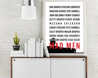 Mad Men Print - Don Draper Poster, Boyfriend Gift, Husband Gift, Typography Mid Century Modern Art, Black and White, 1960s Vintage Decor