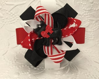 Scottie Dog hair bow in black (BW-2) , red and white ribbon. Black,red and white little girls bow
