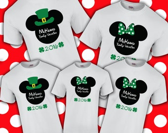 St. Patrick's Day Mickey & Minnie Disney Vacation Shirts - Irish - Lucky Shirt - Saint Pat's - Leprechaun - Green