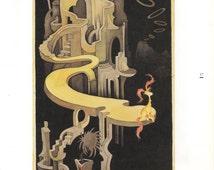 Dr Seuss Art Print,The Secret Art of Dr Seuss.Ted Geisel's Private Art,Pink-Tufted Beast in a Night Landscape,Vintage Art Print,Dr Seuss Art