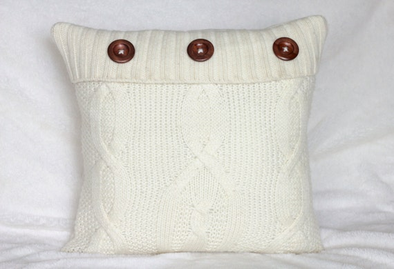 Cream Knit Pillow Cover Cable Knit Pillow Knit by BurrowandBramble