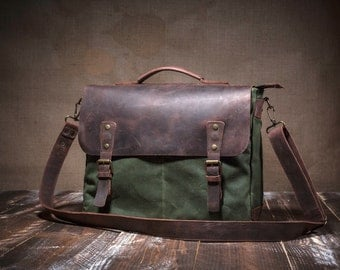 Mens Canvas Messenger Bag, Messenger for Commuters, Leather Messenger Bag, Waxed Canvas Bag