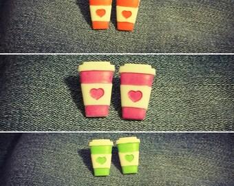 Coffee Earrings, Coffee Studs, Coffee Lover Earrings, Coffee Cup Studs, Pick your favorite color!