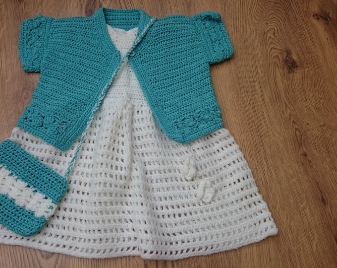 Girls Turquoise Cardigan, White Dress & Handbag, Crochet, Ready to ship Gifts for girls, White Purse, Girls Sweater, Dress, Blue Handbag