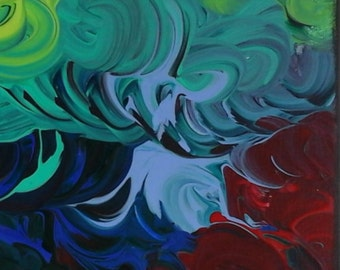 """Original Acrylic Painting -Alice in Wonderland- """"The Flowes"""" -Abstract art -"""