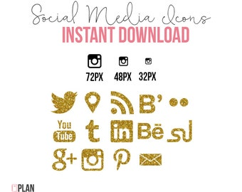 Social Media Icons Shape INSTANT DOWNLOAD Gold Glitter