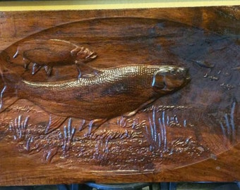 GONE FISHING, Plaque, wall art, fish, wood carving