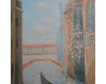 Venice Italy Cityscape Original Painting Venezia Canal Nature Landscape Gondola Living room Home Wall Decor Italian Boat Pastel on Canvas