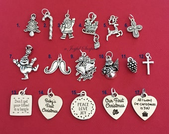 Christmas Charm Add on to any listings 1 single Pendant Silver Santa Snowman Baby's First Reindeer Our Mustache Tree Candy Cane Sleigh Bell