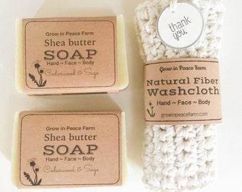Bath Gift Set - 2 Soaps and washcloth , natural soap, crochet washcloth