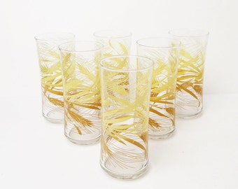 Vintage  Autume Wheat Glasses Libbey, Drinking Tumblers, Large Golden Wheat Glasses