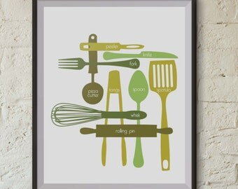 Kitchen Utensils - Digital Print - Spring Meadow - 16x20