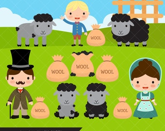 Baa Baa Black Sheep Clipart / Nursery Rhyme Clip Art