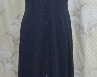 Vintage 1970s Black Halter Dress/Black Maxi Dress with Blue Collar