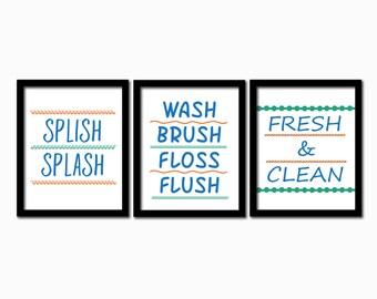 Bathroom rules print. Set of 3. Download printable. PDF diy digital wall art.  Bathroom decor. splish splash print. Boy bathroom print. Blue