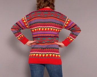 1980s Vintage Red Southwestern Aztec Pullover Sweater