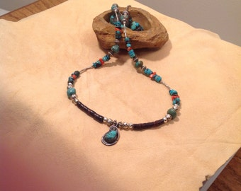 Turquoise-coral-old Heishi-liquid silver tubes necklace