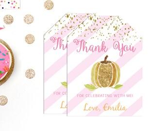 Pumpkin Favor Tags, Pink Gold Little Pumpkin, Thank You Tags, Fall, Autumn, Girl, Birthday, Favor Tags, Printable, Pumpkin Birthday, Glitter