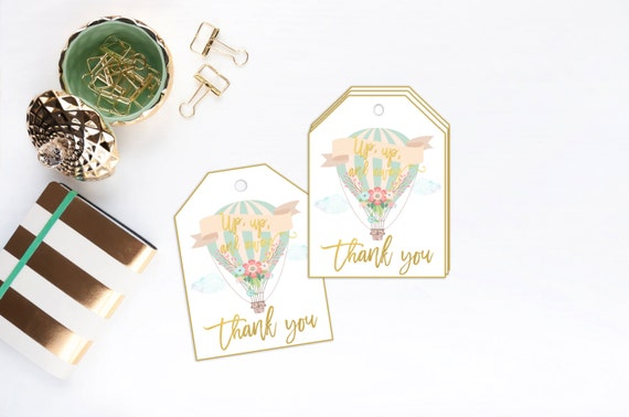 Balloon Tag: Hot Air Balloon Favor Tags Thank You Tag Up Up By