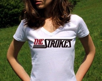 The Strokes Band Shirts The Strokes Band T Shirt Indie Shirt The Strokes Tshirt Indie Rock White Women V Neck Indie Shirt
