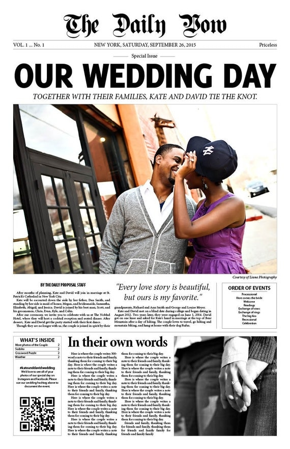 newspaper wedding program personalized 11x17 by