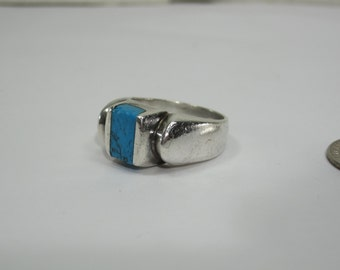 Sterling Silver Designer Signed Turquoise Ring Size 9