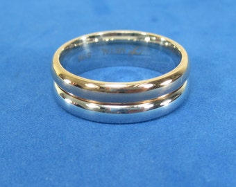 Men's Bands Goldtone Copper and Stainless Ring Size 10