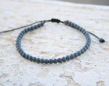 Men bead Bracelet, Hematite 4mm Bracelet, Men Gemstone Bracelet, Gift For Him, Men Gift, Zen Jewelry, Hipster Bracelet, Minimalist, Black