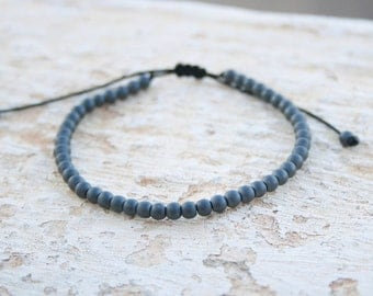 Men bead Bracelet, Hematite 4mm Bracelet, Men Gemstone Bracelet, Gift For Him, Men Gift, Zen Jewelry, Hipster Bracelet, Minimalist, Black