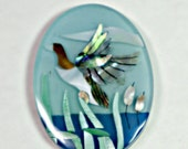 Natural Shell Abalone and Mother of Pearl Inlay, Mallard Duck Pendant, (60x42mm) Large Sized Statement Piece (1 Pc)