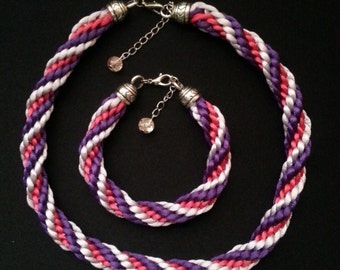 Set necklace and bracelet braided