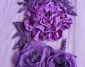 Trim with hand-made silk satin and organza flowers